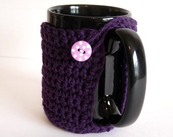 Crochet Mug Cozy in Purple, For Coffee Lovers and Tea Addicts