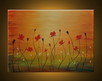 Original Oil Painting- Contemporary Abstract Modern Fine Art Landscape Floral Painting. HAPPY FLOWERS - Free Shipping inside US.