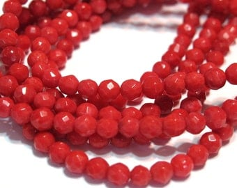 Red coral faceted 4mm round beads whole strand