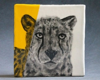 Hand Painted Cheetah Portrait Wall Tile Yellow