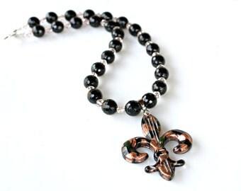 SUMMER SALE Fleur De Lis Necklace Jewelry France Paris Black Gold Copper Glass Pendant Art Deco Style