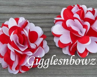 NEW Set of TWO Beautiful Small Satin Puff Flowers- Red and White
