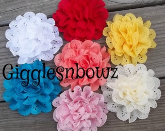 CHooSE YouR COLOR- Single Chiffon EYELET Flower- 3-3.5 inch