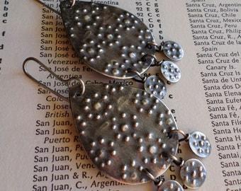 Sterling Silver Earrings, Exotic Gypsy Earrings, Urban Bohemian Moroccan Charcoal Handwrought Metalsmith Teardrop Dangle Earrings