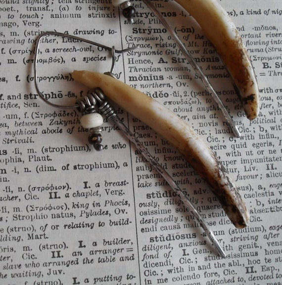 Sterling Silver Hoop Earrings, Earthy Rustic Primitive Vintage Salvage Assemblage Tribal Dangle Earrings, Cream Beige Brown Organic Earrings