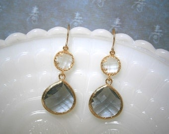 Grey Earrings, Clear Crystal Earrings, Gold Earrings, Bridesmaid Gift, Best Friend Birtthday, Gifts for Her