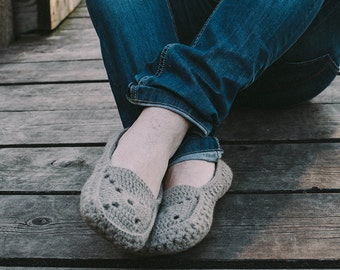Crocheted home slippers moccasins from natural organic wool for man