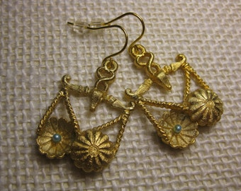 Libra Earrings, Vintage Charm Earrings, Gold Scale Earrings