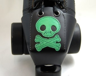 Leather Skate Toe Guards with Green Skull and Crossbones
