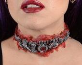 Steampunk Gear Choker - Steel Tone - Slit throat Cyberpunk Jewelry