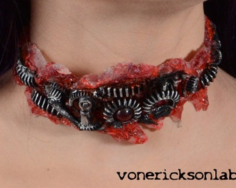 Halloween Jewelry  - Gothic Zombie Gear Choker - Antiqued Steel Tone - Slit throat Horror Cyberpunk Jewelry