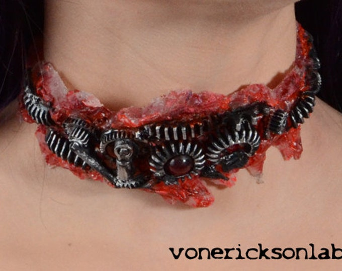 Steampunk  Zombie Gear Choker - Antiqued Steel Tone - Slit throat Cyberpunk Jewelry