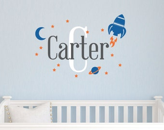 Boy Decal, Boy Bedroom Wall Decal, Space Wall Stickers, Personalized Name Decal, Boy Bedroom Decor