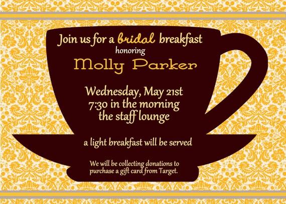 Digital Coffee Cup Bridal Breakfast by spencervillejunction