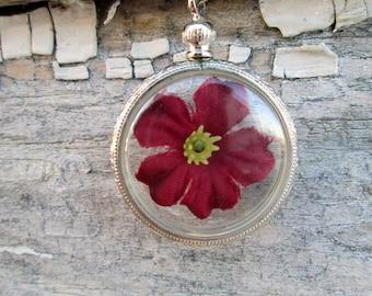Vintage Encased Red Silk Flower Pendant