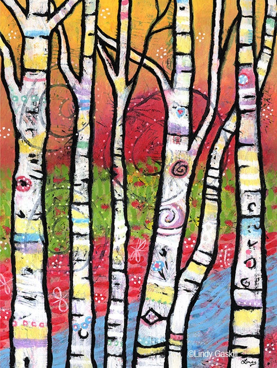 """Whimsical Tree Print  8"""" x 10"""" - The Trees Sparkle and Sing"""