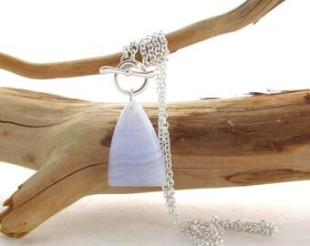 Argentium Silver Necklace with a Blue Lace Agate Cabochon