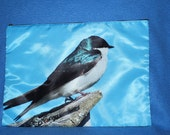 Bird and Butterfly Pouch or Cosmetic Bag  - XXL 13 x 9.5 inches Tree Swallow and Swallowtail Butterfly Photos
