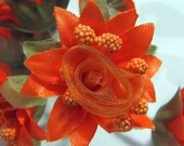 Organza and Fabric Star Flower Embellishments in Orange