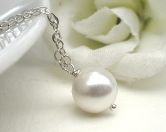 White Pearl Necklace On A  Sterling Silver Chain