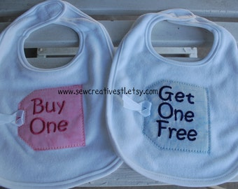 """Bib Set for Twins - """"Buy One"""" and """"Get One Free"""""""