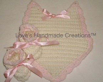 Baby Girl Bib and Bootie Set Trimmed in Pink