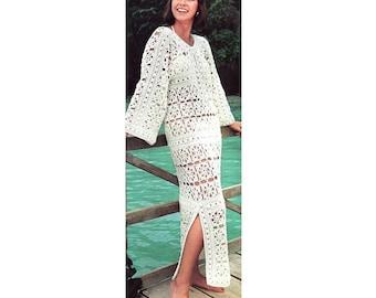 INSTANT DOWNLOAD PDF Vintage Crochet Pattern   Kaftan Beach Cover Up Tunic Maxi Dress
