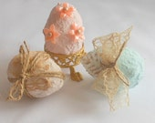 Exquisitely Cottage Chic Mini Easter Eggs, Easter Decoration, Softly Colored Spring Celebration or Easter Decor, Set of 12