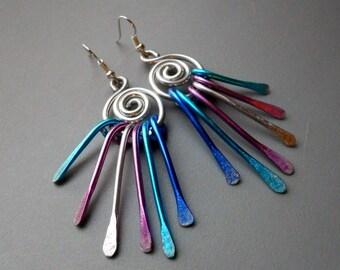 Anodized Hammered Aluminum Pink Silver Tone Blue Swirl Peacock Wind Chime Tassle Goddess Earrings