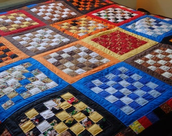 Scrap quilt in checkered design -- on sale now!!!