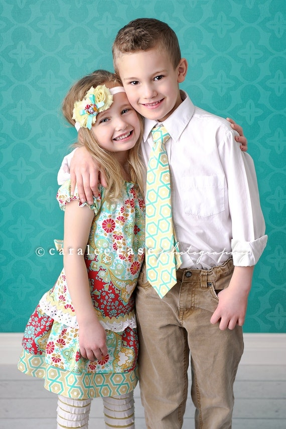 Brother and Sister Matching Combo-Girl's Peasant Dress and Boy's Matching Tie- 2013 Spring Collection from Mellon Monkeys