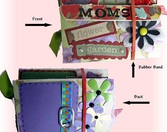 Mini Scrapbook, Brag Book,Mini Album, Mom Scrapbook, Garden Album, Accordian Book, fits in your Pocket Book, Holds Wallet sized Photos