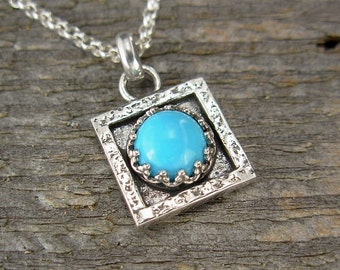 Turquoise Necklace - Tiny Square Turquoise Pendant in Sterling Silver on Sterling Silver Chain