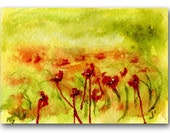 ACEO original watercolor, Abstract Az Desert, green, orange, red,  FREE shipping U.S.A.