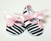 Black White Pink Zebra Baby Shoes Crib shoes Clearance