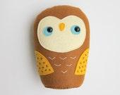 Stuffed toy owl, owl softie, woodland owl toy, owl plushie, plush owl, owl softie, plush toy owl, Acorn owl
