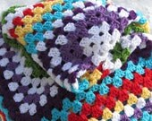 RESERVED Crocheted handmade cozy baby child  granny square Afghan blanket