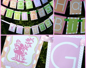 Fairy Birthday Party Banner Decorations Fully Assembled | Pink Lime Green Peach | Fairy Party Theme | Fairy tale Birthday | Fairy Tale Party