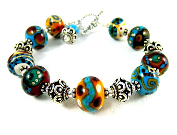 Lampwork Bracelet, Sterling Silver Bracelet, Southwestern Bracelet, Colorful Glass Bracelet, Teal Red Blue Glass Bead Bracelet - Petroglyphs
