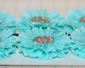 6 Small Teal Blue Crepe Paper Rosettes