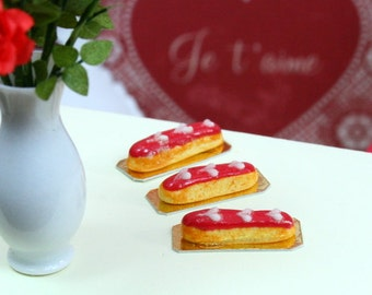 French Valentine's Eclair - Red....White Heart - 12th Scale Miniature Food