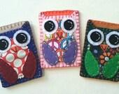 Bitty Hoots Eco Felt Owl ID Case Owl Business Card Case