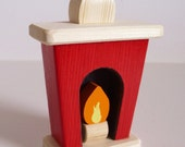Wooden Toy Small Dollhouse Fireplace, Wood Toy, Doll House Decor, Handmade Kids gift, Waldorf inspired, Jacobs Wooden Toys