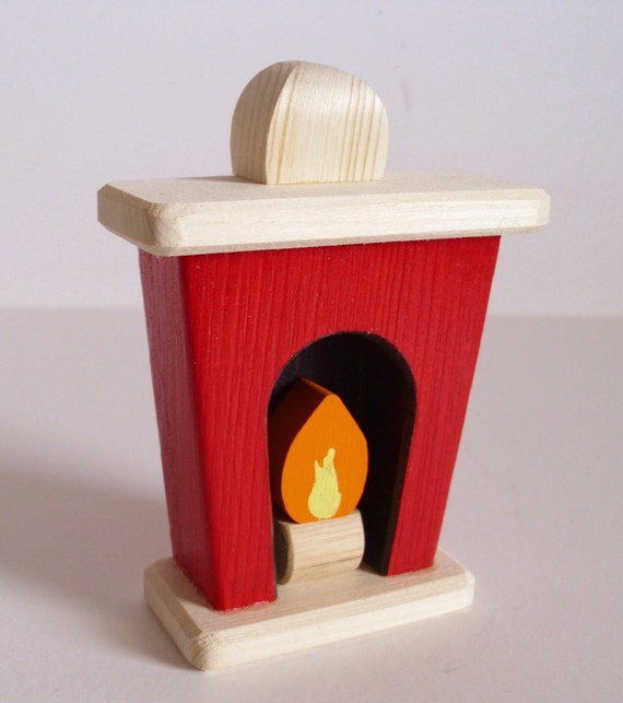 Wooden Toy Small Dollhouse Fireplace Wood Toy Doll House