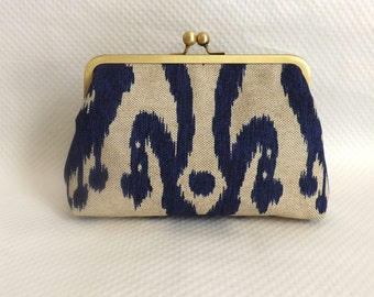 Bridesmaid Clutch - Wedding Clutch - Bridesmaid Gift - Navy Ikat Bridal Purse - Kendra Clutch