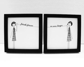 Best Friend BFF custom art print set // Personalized with text