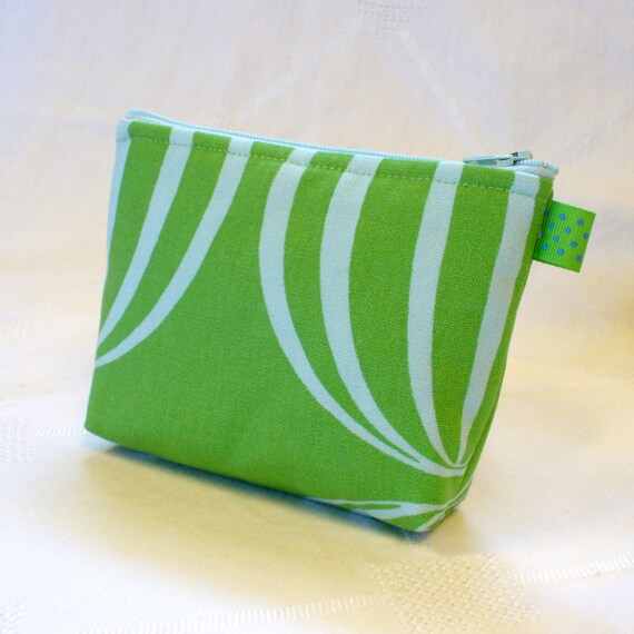 Globe Fabric Zipper Pouch Cosmetic Bag Makeup Bag Gadget Bag Cell Phone Case Green Blue Handmade