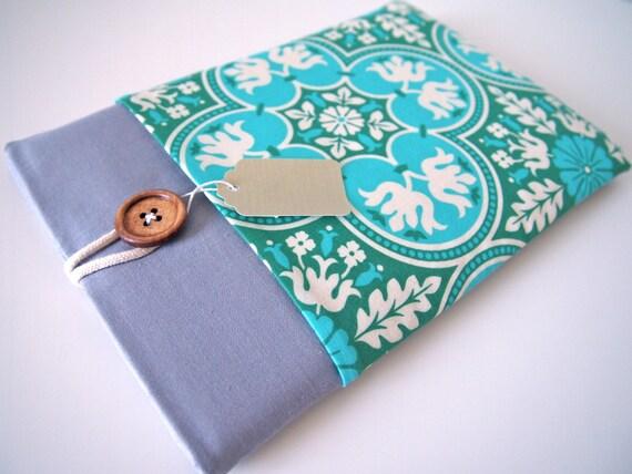 Women's iPad Mini Case, iPad Mini Sleeve, iPad Mini Cover with Pocket - Teal Damask