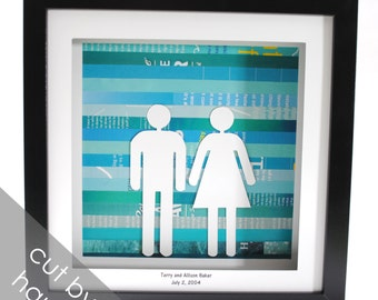 Custom Wedding Gift- shadowbox made from recycled magazines, First Anniversary Gift, paper, teal, man, woman, wedding date