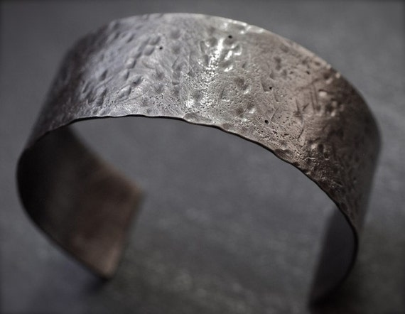 Men's rustic, distressed, hammered sterling silver cuff bracelet